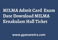 MILMA Admit Card Exam Dates