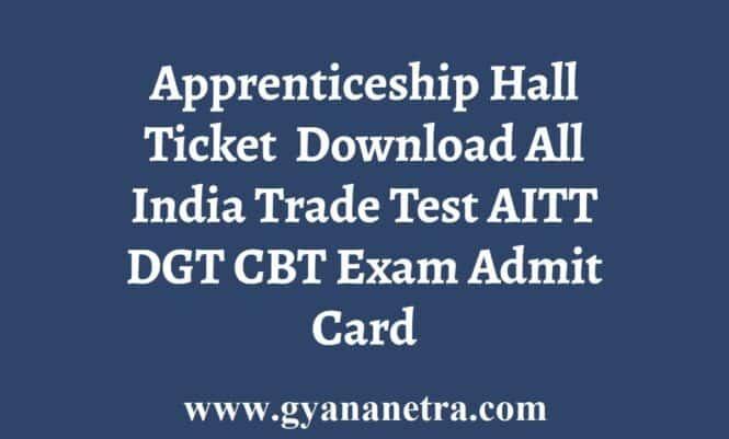 AITT Apprenticeship Hall Ticket Admit Card