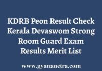 KDRB Peon Results