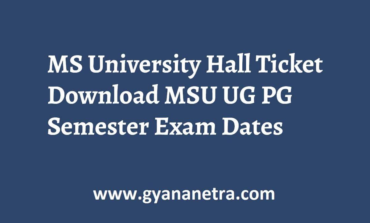 MS University Hall Ticket Download Online