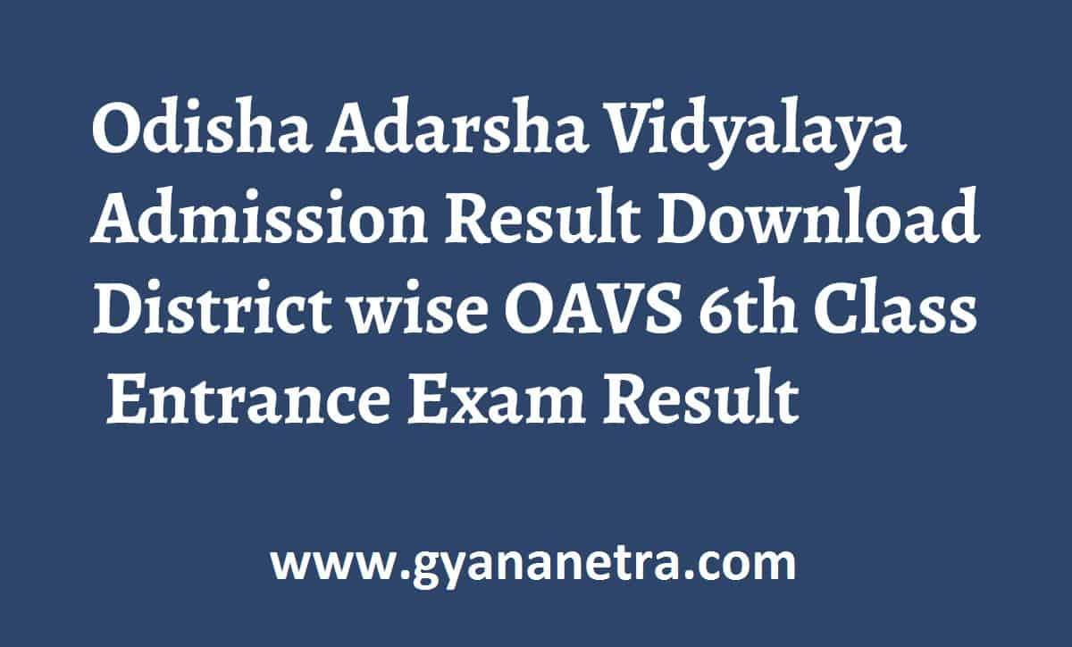 Odisha Adarsha Vidyalaya Admission Result Check