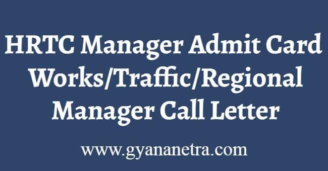 HRTC Manager Admit Card