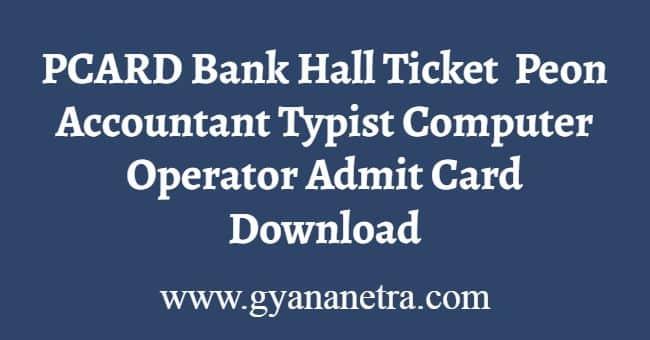 PCARD Bank Hall Ticket