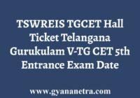 TSWREIS TGCET Hall Ticket Download