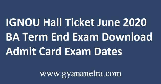 IGNOU Hall Ticket June 2020