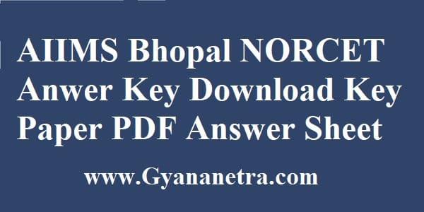AIIMS NORCET Anwer Key Download PDF