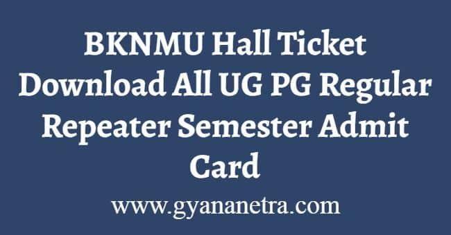 BKNMU Hall Ticket Download