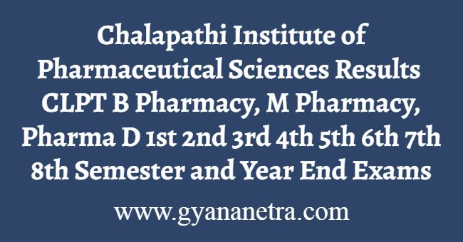 Chalapathi Institute of Pharmaceutical Sciences Results