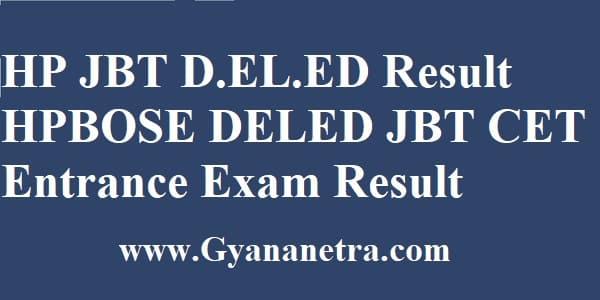HP JBT D.EL.ED Result Rank Card