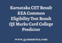 Karnataka KCET Result QE Marks