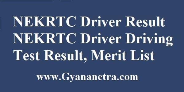 NEKRTC Driver Result Merit List