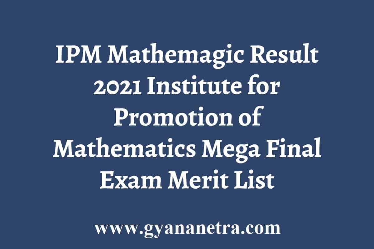 IPM Mathemagic Result Merit List Cut Off