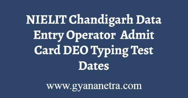 NIELIT Chandigarh DEO Admit Card