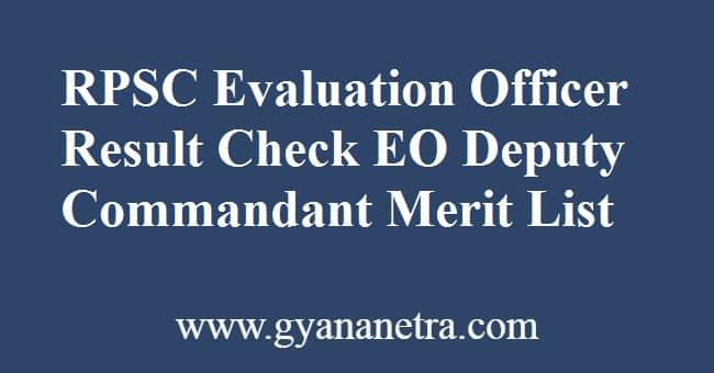 RPSC Evaluation Officer Result