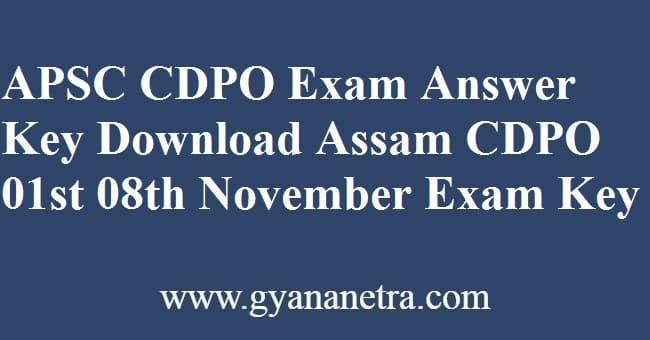APSC CDPO Answer Key PDF