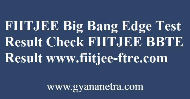 FIITJEE Big Bang Edge Test Result