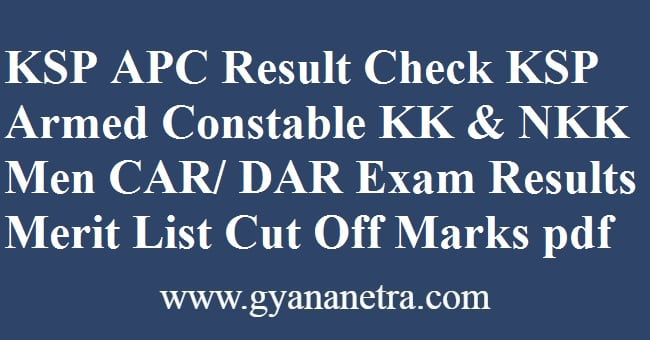 KSP APC Result Merit List