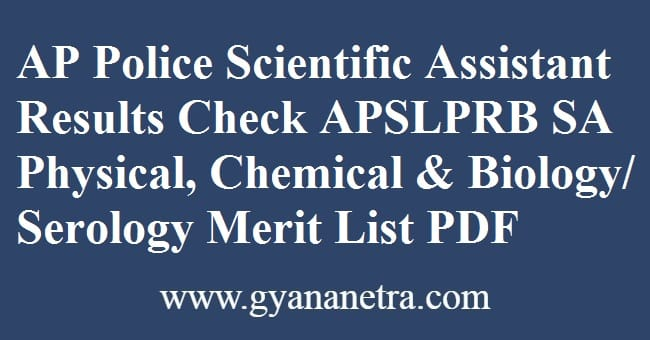 AP Police Scientific Assistant Results Check