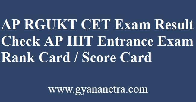 AP RGUKT CET Result Score Card
