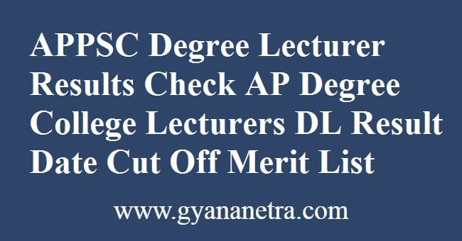 APPSC Degree Lecturer Results Merit List