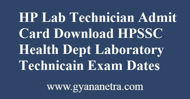 HP Lab Technician Admit Card Exam Dates