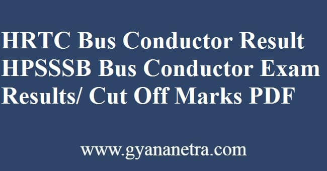 HRTC Conductor Result Merit List
