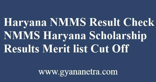 Haryana NMMS Result Scholarship Test