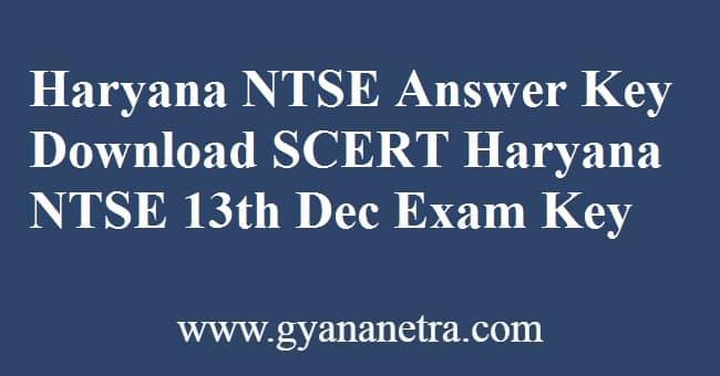 Haryana NTSE Answer Key PDF Download