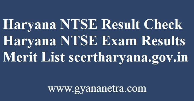 Haryana NTSE Result Check Online