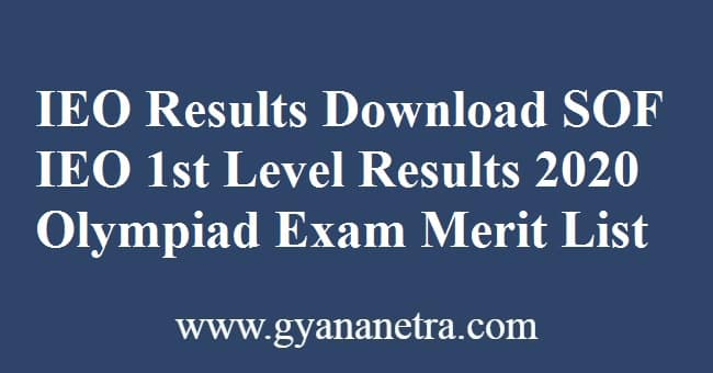 IEO Results Download SOF IEO 1st Level Results 2020 Olympiad Exam
