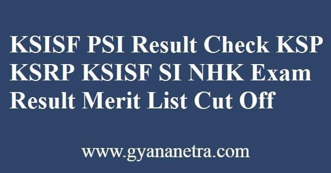 KSISF PSI Result Check Online