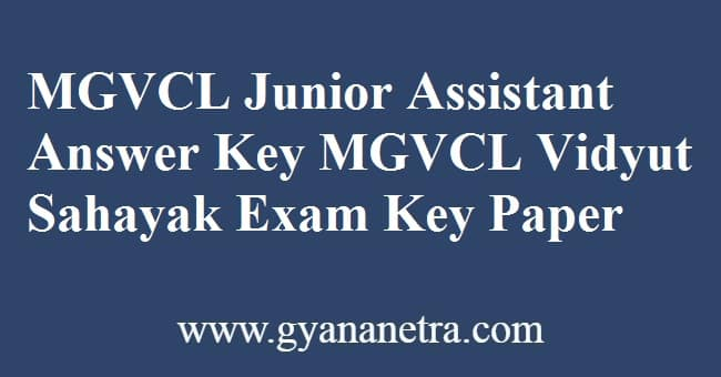 MGVCL Junior Assistant Answer Key PDF Download