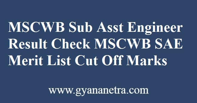 MSCWB Sub Assistant Engineer Result Check Online