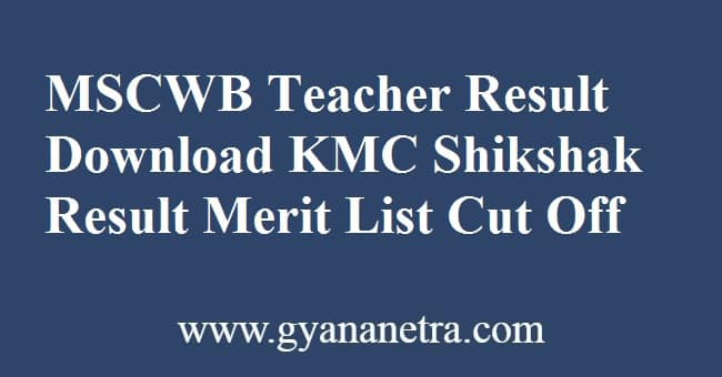 MSCWB Teacher Result Merit List