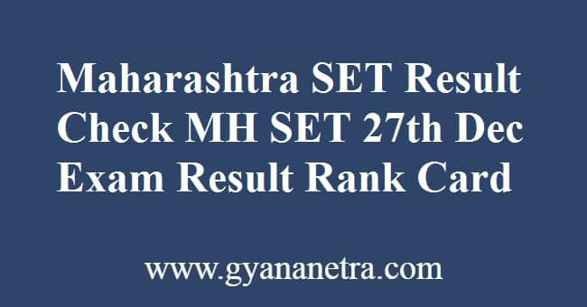 Maharashtra SET Result RanK Card