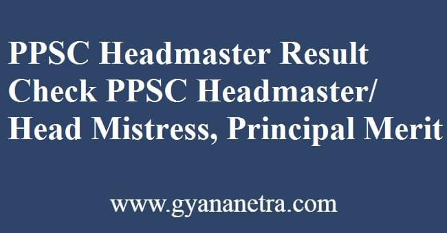PPSC Headmaster Result Merit List