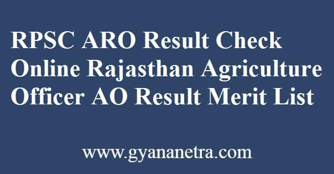 RPSC ARO Result Check Online