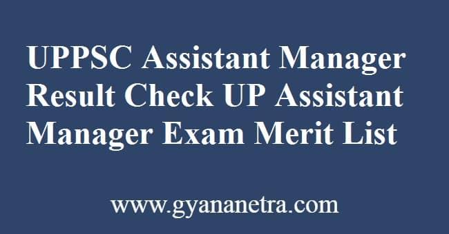 UPPSC Assistant Manager Result Merit List
