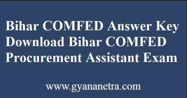 Bihar COMFED Answer Key Paper PDF Download
