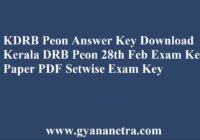 KDRB Peon Answer Key Download