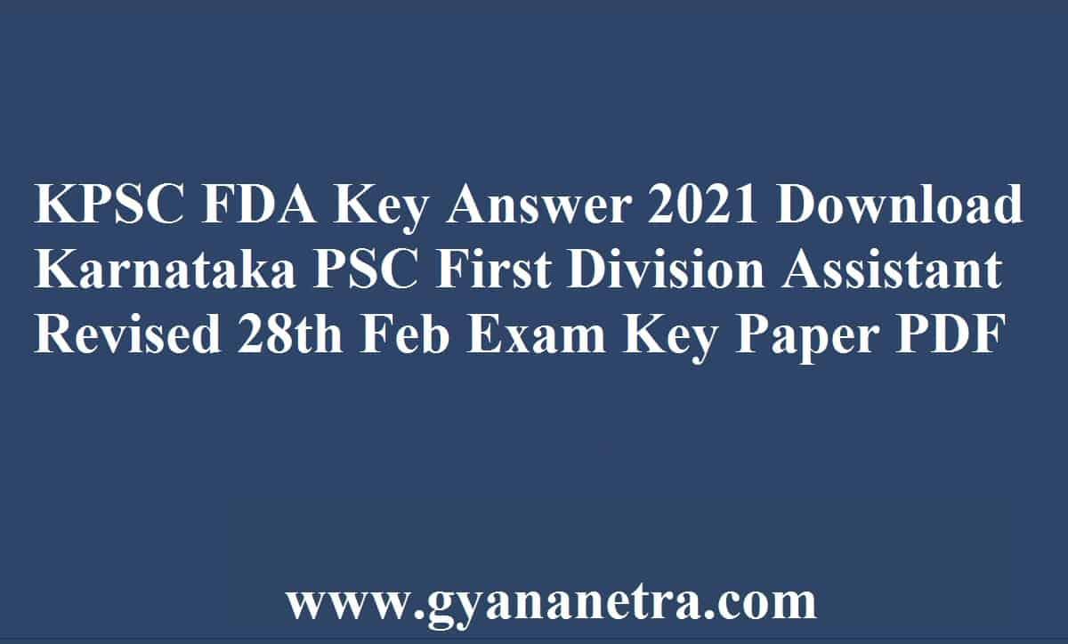 KPSC FDA Key Answer PDF