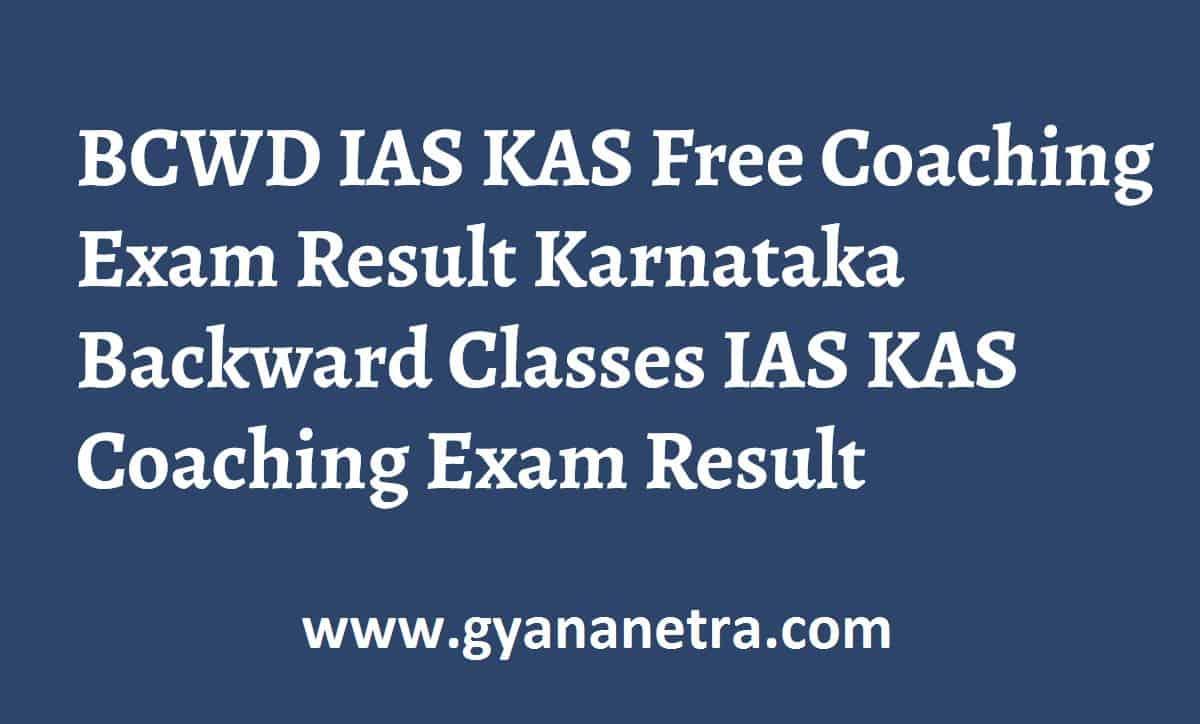 BCWD IAS KAS Free Coaching Exam Result