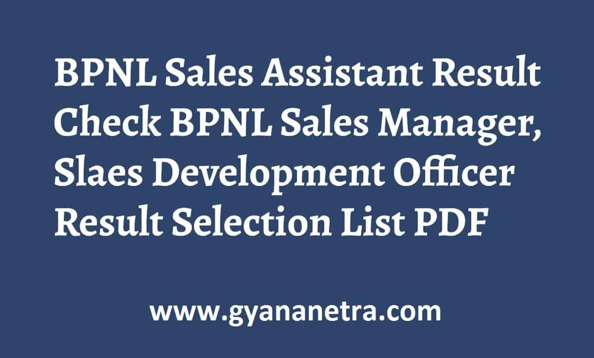 BPNL Sales Assistant Result Check Online
