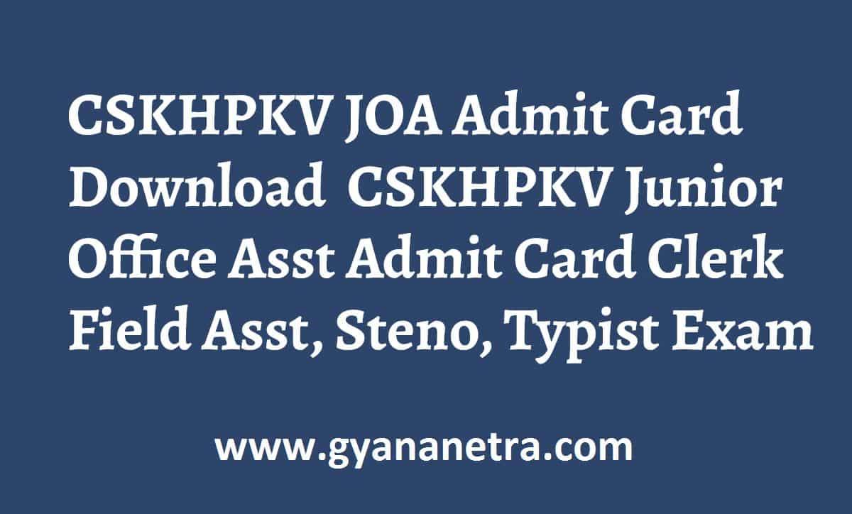 CSKHPKV JOA Admit Card Exm Dates