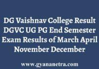 DG Vaishnav College Result