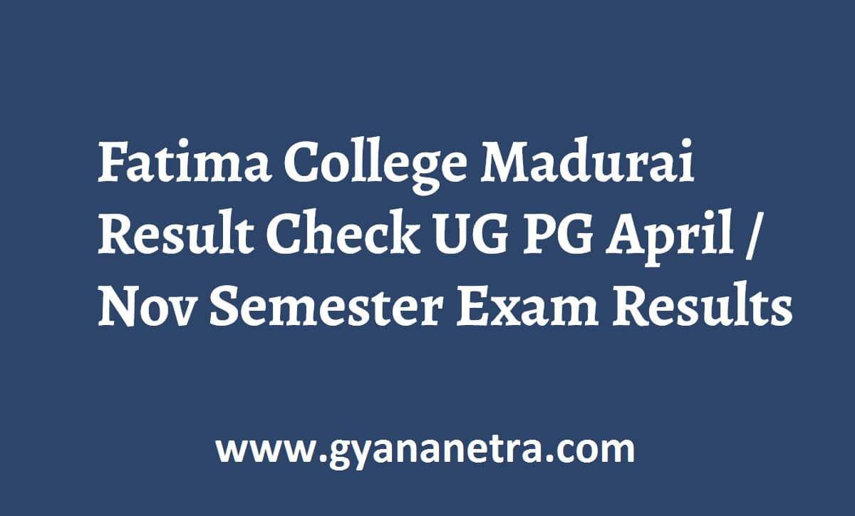 Fatima College Madurai Result Check Online