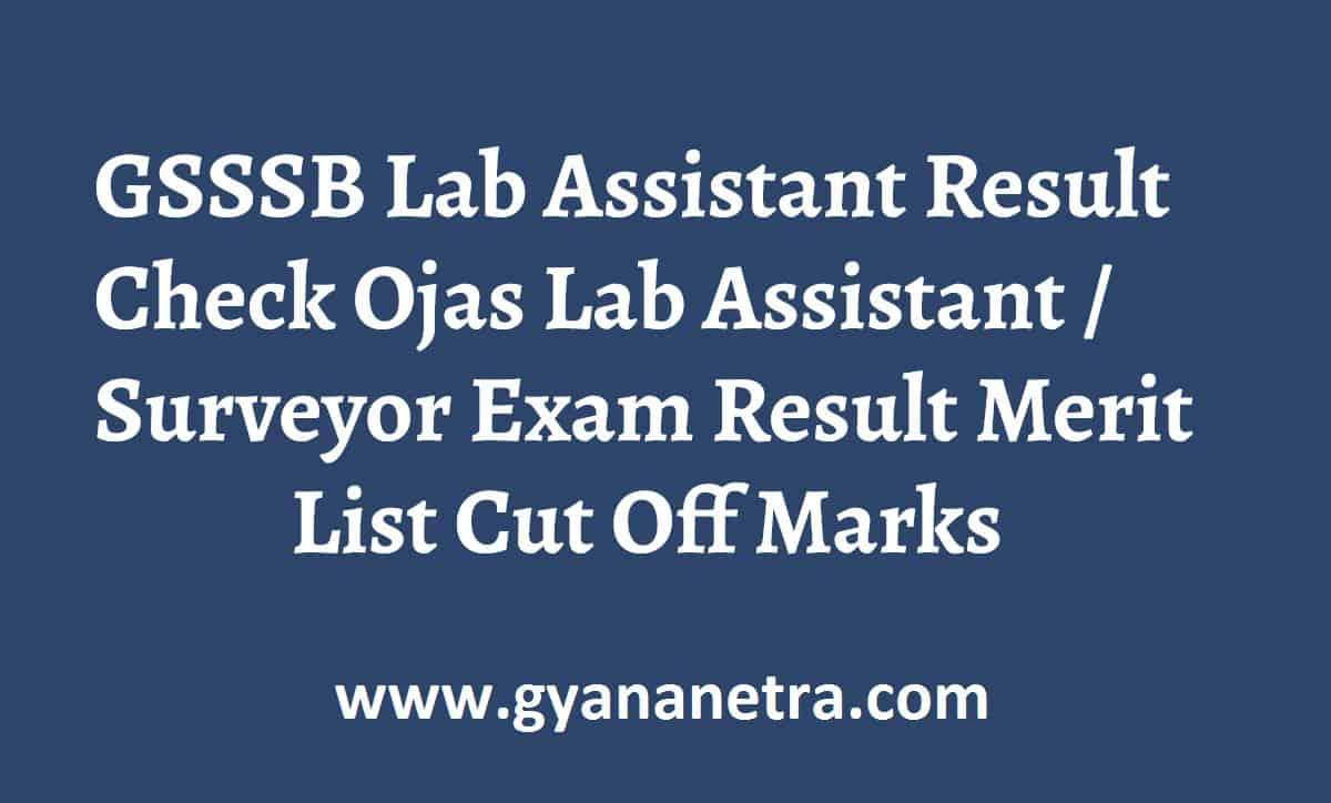 GSSSB Lab Assistant Result Surveyor Merit List