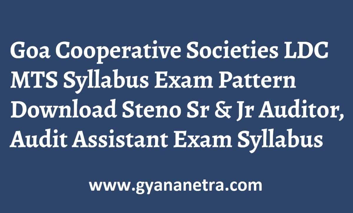 Goa Cooperative Societies LDC MTS Exam Syllabus Pattern
