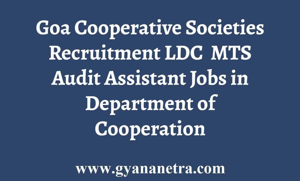 Goa Cooperative Societies Recruitment