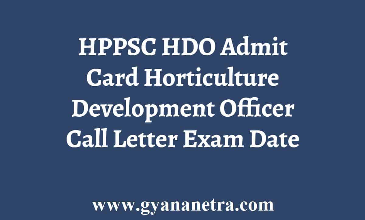 HPPSC HDO Admit Card